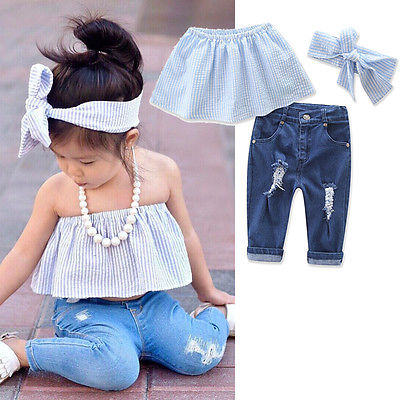 4c5a7af7435f Aliexpress.com   Buy 2PCS Fashion Clothes Set Baby Girls Kids Jeans Summer  Casual Striped Tops+Ripped Denim Pants Outfits Set from Reliable clothes set  ...