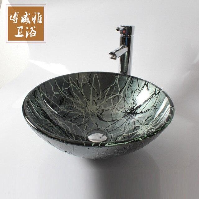 Glas Waschbecken Handgemalte Weiße Waschbecken Badezimmer Waschbecken Glas  Waschbecken