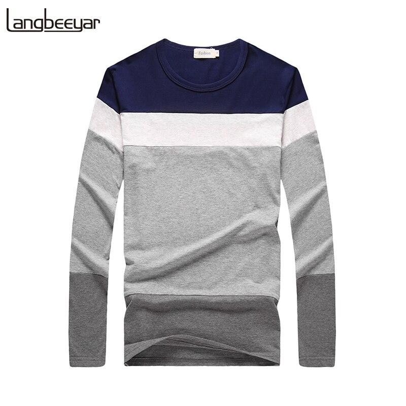 New Fashion Brand Men T Shirt Classic Contrast Color Slim Fit Long Sleeve T Shirts Men Cotton Comfortable Cotton Casual T-Shirt женская футболка brand new t slim fit 3 sv007962