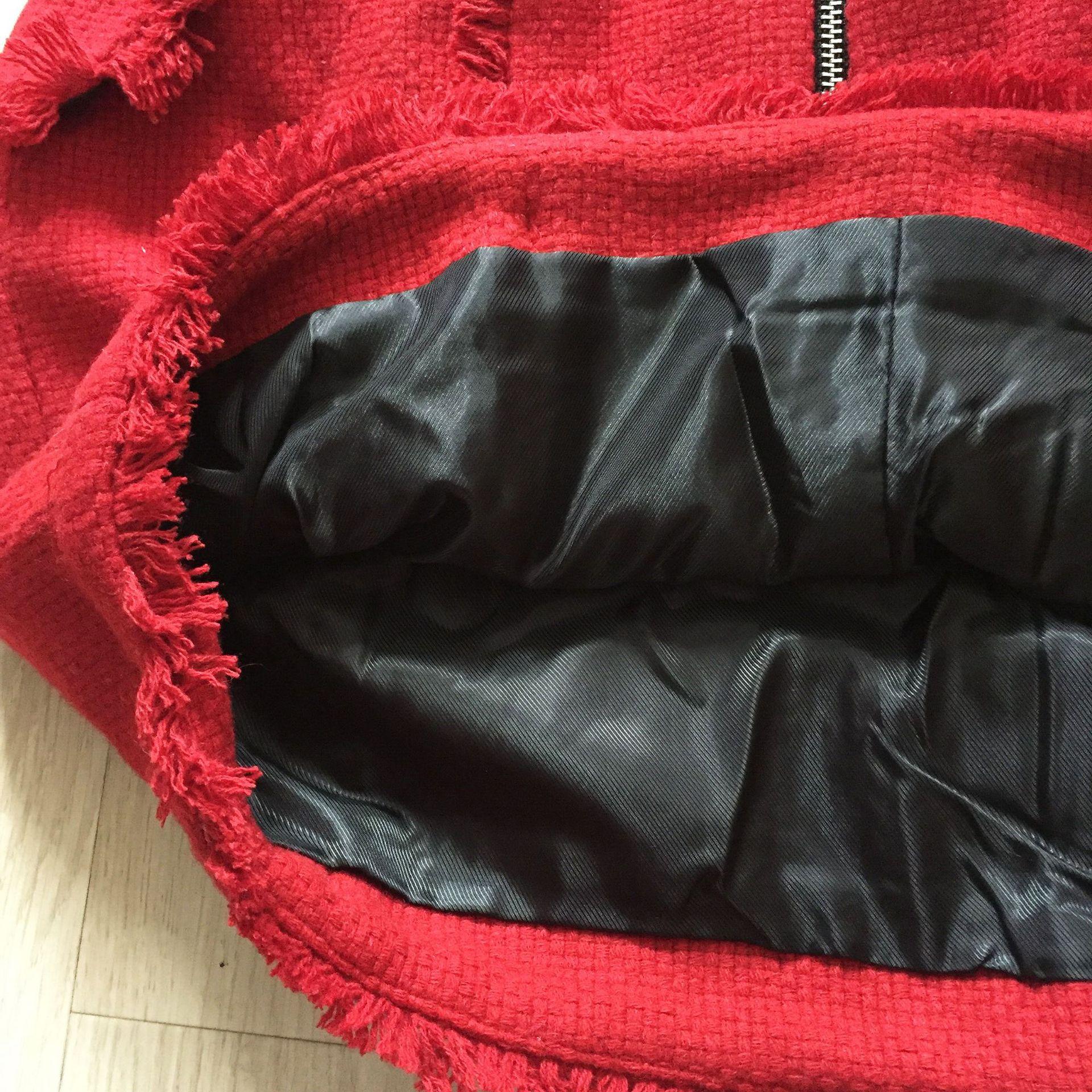 Tweed Grils' 2019 Para La Mujeres De Falda Invierno Red Botones Otoño Roja Primavera Chaqueta X8XYwx