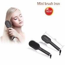 HTG Mini Hot brush hair straightener iron Hair Straightener Brush Comb Detangling fast Straightening Irons Hair Brush comb