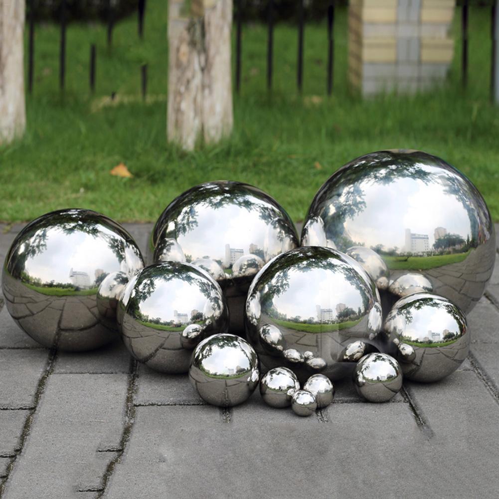9 Size High Brightness Shine Sphere 304 Stainless Steel Mirror Sphere Hollow Ball Home Garden Ornament Decoration