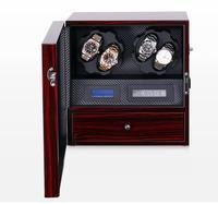 슈퍼 럭셔리 4 + 5 시계 와인 더 박스 디스플레이 스토리지 캐비닛 led silient 모터 자동 전기 회전 케이스