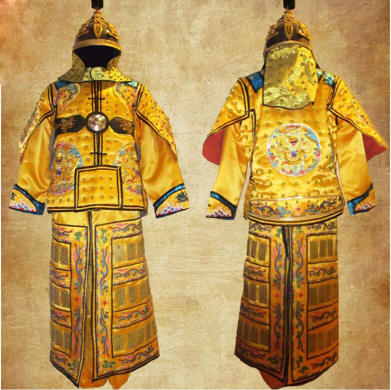 Chinese ancient Leather Copper Dragon general Helmet Armor Corselet Kui Jia Outfit Qing Dynasty Clothes armor Manchu flag