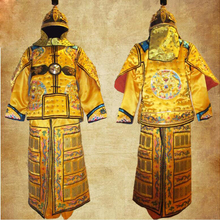 dbcbdafc4 Chinese ancient Leather Copper Dragon general Helmet Armor Corselet Kui Jia  Outfit Qing Dynasty Clothes armor