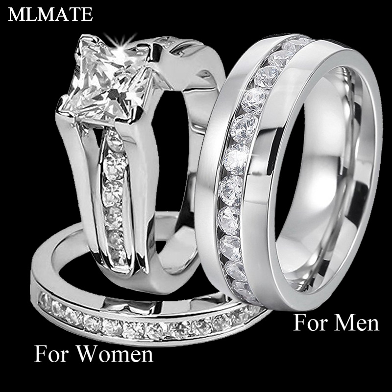 His and Her 316L Stainless Steel Princess Cut Wedding Ring Sets and Eternity Wedding Band