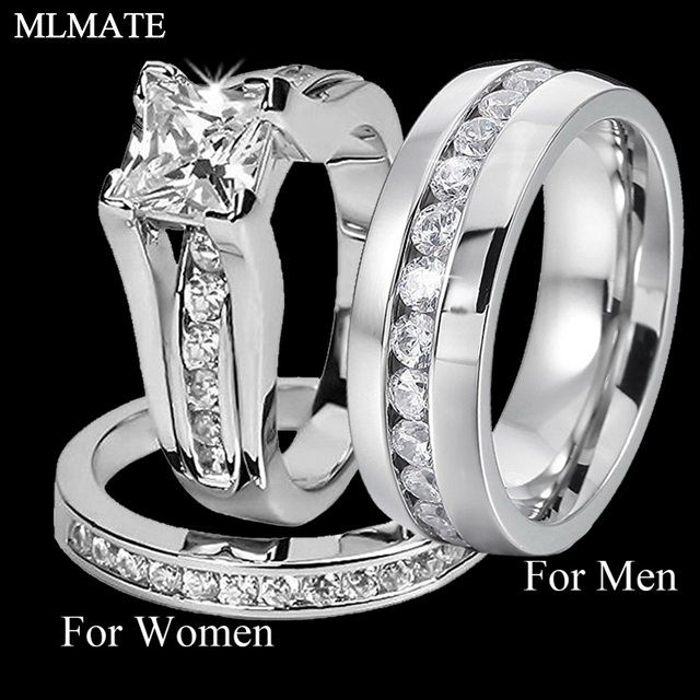 His And Her 316l Stainless Steel Princess Cut Wedding Ring Sets And