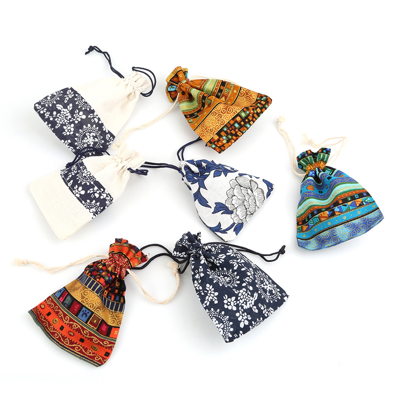 ece5f29b6d 5pcs lot Coin Purse Bag Multicolor Tribal Tribe linen Drawstring Jewelry  Bag Pouches Package Storage