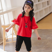 hot deal buy kids clothes 2019 new cotton children clothing girls clothing sets short sleeve o-neck tshirt+shorts 3-12 baby girl clothes