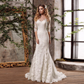 Custom Made Vestido De Novia Ivory/White Tulle Applique Seven Sleeve Lace Mermaid Wedding Dress Bridal Gown Chapel Train