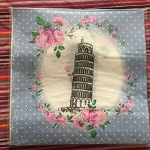 20 servilletas de mesa Vintage papel rosa azul pañuelo Torre decoupage de flores servilletas boda cumpleaños fiesta banquete decoración de Navidad