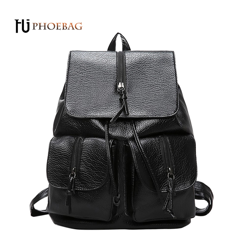 HJPHOEBAG Fashion Women Black Backpacks luxury large capacity Students Backpack High Quality PU School bags travel bag W-497