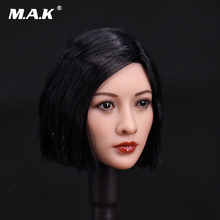 1/6 Scale Short Asian Black Wig Head Sculpt Model Toys For 12 Female Action Figure Accessory Collections 1 6 scale asian beauty girl lingling head w black long straight hair for 12 action figure accessory collection doll toys gift
