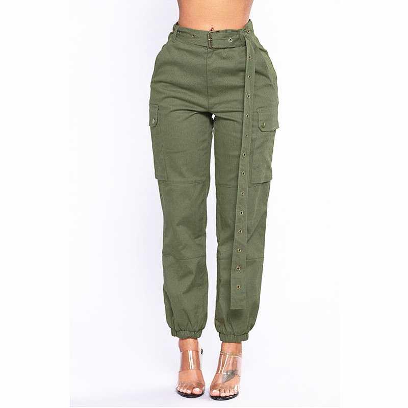 610d7317338 Для женщин vogue jogers штаны-карго Новый Высокая талия карманы лодыжки  галстук повседневное хип поп