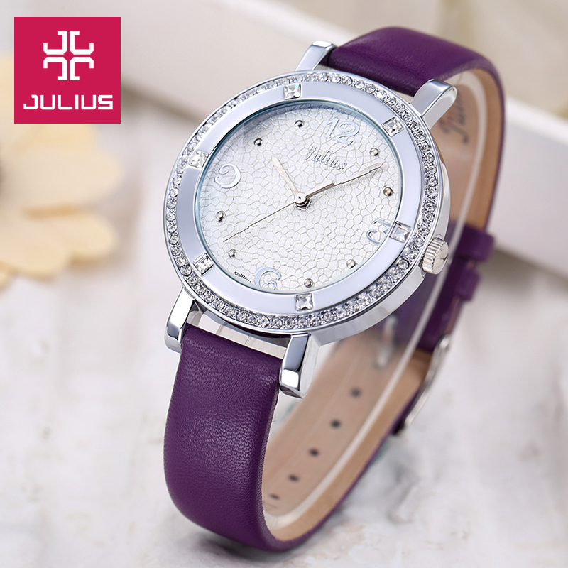 JULIUS Lady Women's Watch Japan Quartz Hours Fashion Clock Dress Bracelet Leather Crystal Elegant Valentine Girl Gift Box top julius lady women s watch japan quartz elegant rhinestone large number fashion hours dress bracelet leather big girl gift