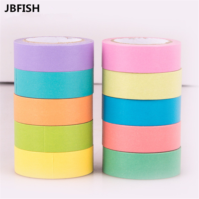 JBFISH Solid Color slim paper Scotch washi tape 10mm*15m Macaron candy color decorative masking tapes School supplies  1075 24 colors 5mm 7m solid pure color slim diy paper scotch washi tape candy colorful decorative book masking tapes school supplies