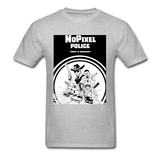 21c58900a Nopixel Police T Shirt Obey & Survival Men Black T Shirt Fashion ...
