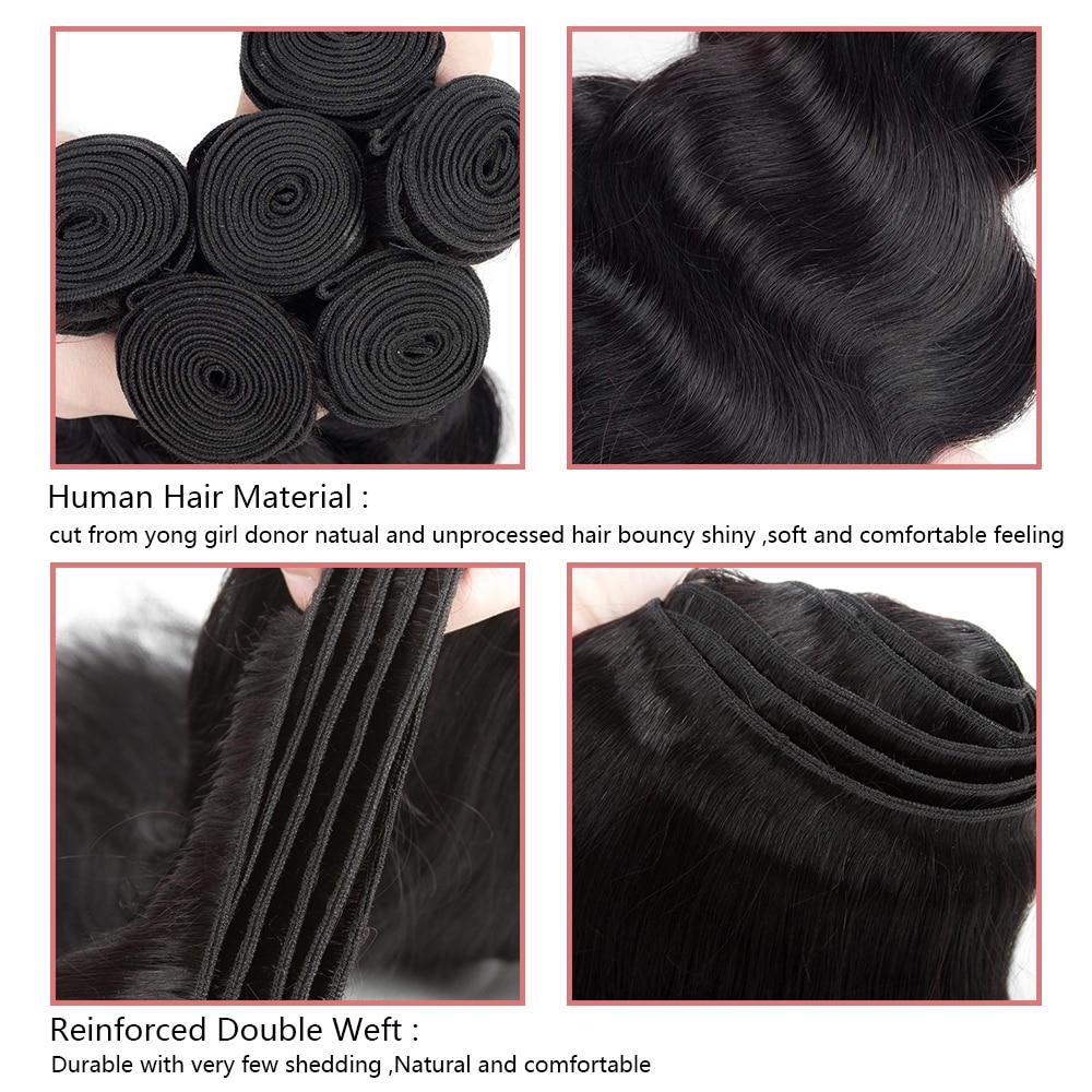 Mornice Brasiilia keha laine 3 kimbud juuksekudumisega - Inimeste juuksed (must) - Foto 4