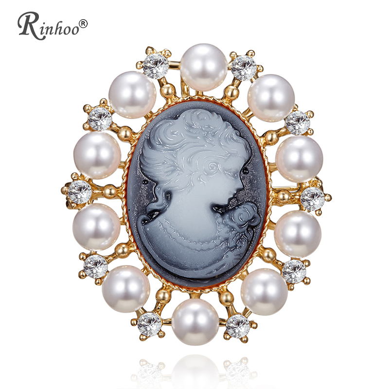 RINHOO Antique Gold Color Vintage Simulated Pearl Brooch Pins Female Jewelry Queen Cameo Brooches Rhinestone For Women Christmas