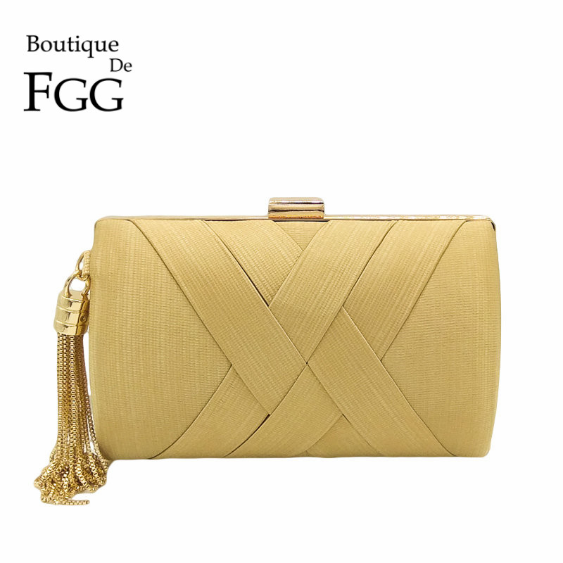 Boutique De FGG Women Gold Satin Woven Evening Bags Tassel Metal Minaudiere Day Clutches Purse Party Prom Chain Shoulder Handbag thinkthendo new woven bags chain strap replacement for purse handbag shoulder bag accessories faux leather metal