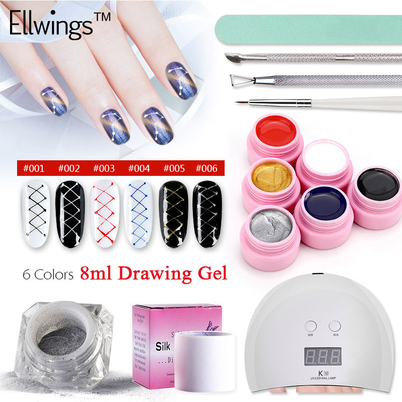 Ellwings 13 pcs Nail Gel Set Polonais 24 w Nail Lampe UV Sèche-Creative Fil Dessin UV Nail Gel Nail art Laque Manucure Ensemble