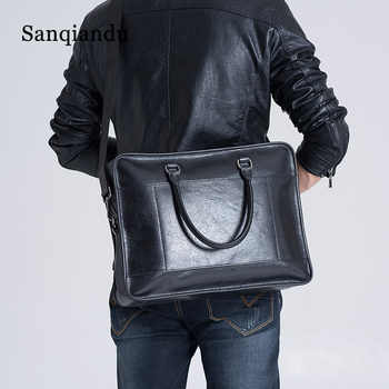 2020 Designer Cowhide Male Commercial Briefcase Genuine Leather Men\'s Laptop Messenger Bag Casual Travel Bags Male Business bag