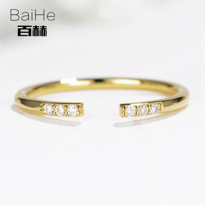 BAIHE Solid 14K Yellow Gold 0.05CT Certified H/SI Round 100% Genuine Natural Diamonds Engagement Women Trendy Fine Jewelry Ring цена