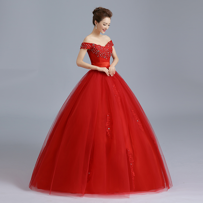 Image 4 - RED Baot Neck Wedding Dress 2019 New Lace Bridal Dresses Korean Style Plus Size Vestido De Novia Vintage Real Photo Custom GZ-in Wedding Dresses from Weddings & Events