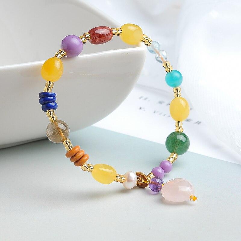 Bracelet Duobao en cire d'abeille perles de couleur 9mm perles de couleur 9mm Bracelet en cire avec certificat