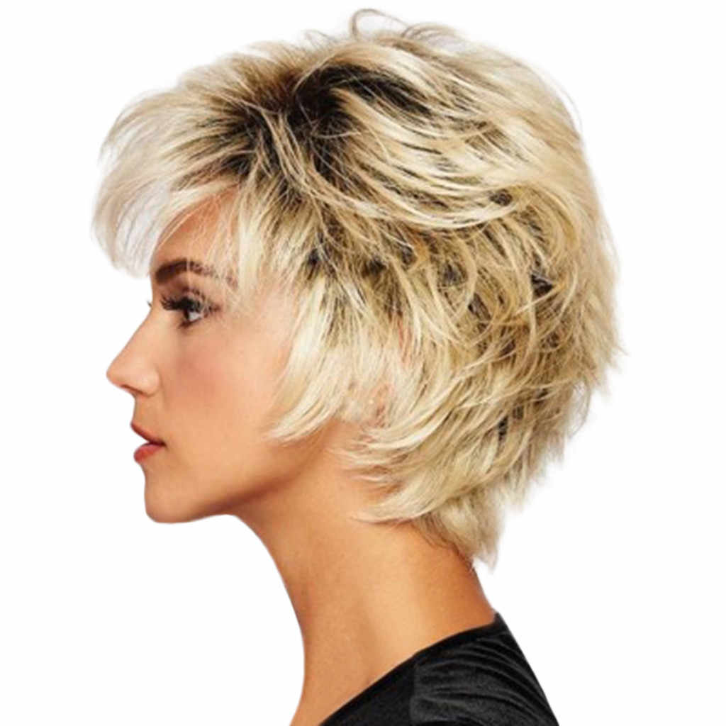 ... Hair Wigs For Women Synthetic For Women Fashion Synthetic Short  Straight Gold Women s Wigs Natural Hair ... 4dd6a96ee0