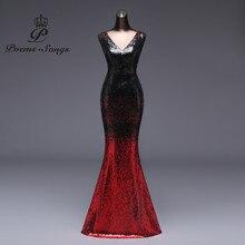 Poemssongs Evening Dress vestido de festa longo Formal Gradient sequin style Sexy waist robe longue gown bride reflective dress