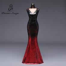 Poemssongs שמלת ערב Vestido דה festa לונגו פורמליות שיפוע נצנצים סגנון סקסי מותניים robe לונג שמלת הכלה שמלת רעיוני