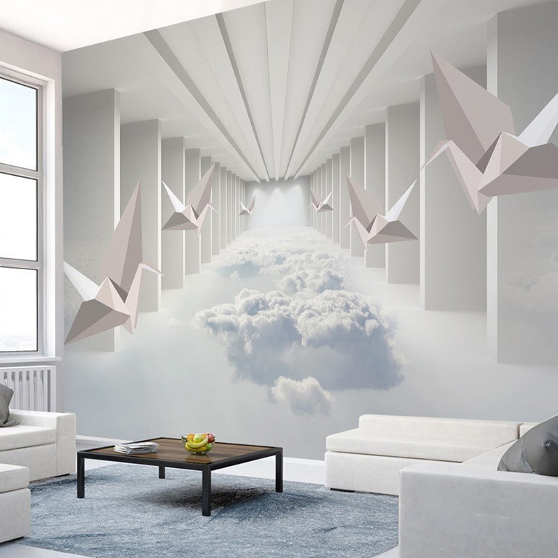 3D Wallpaper Modern Stereo Paper Crane Clouds Building Photo Wall Mural Living Room TV Sofa Bedroom Background Wall Painting 3 D custom wall mural wallpaper modern smoke clouds abstract art large wall painting bedroom living room sofa tv photo wall paper 3d