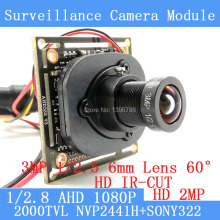 AHD 2MP 1080P NVP2441+SONY IMX322 CCTV Camera Module 1920*1080  Low Illumination 0.001lux 2000TVL 1080P 6mm Lens OSD/ BNC Cable