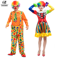 ROLECOS 2017 New Arrival Men And Women Halloween Costumes Full Set Adult Funny Circus Clown Costumes