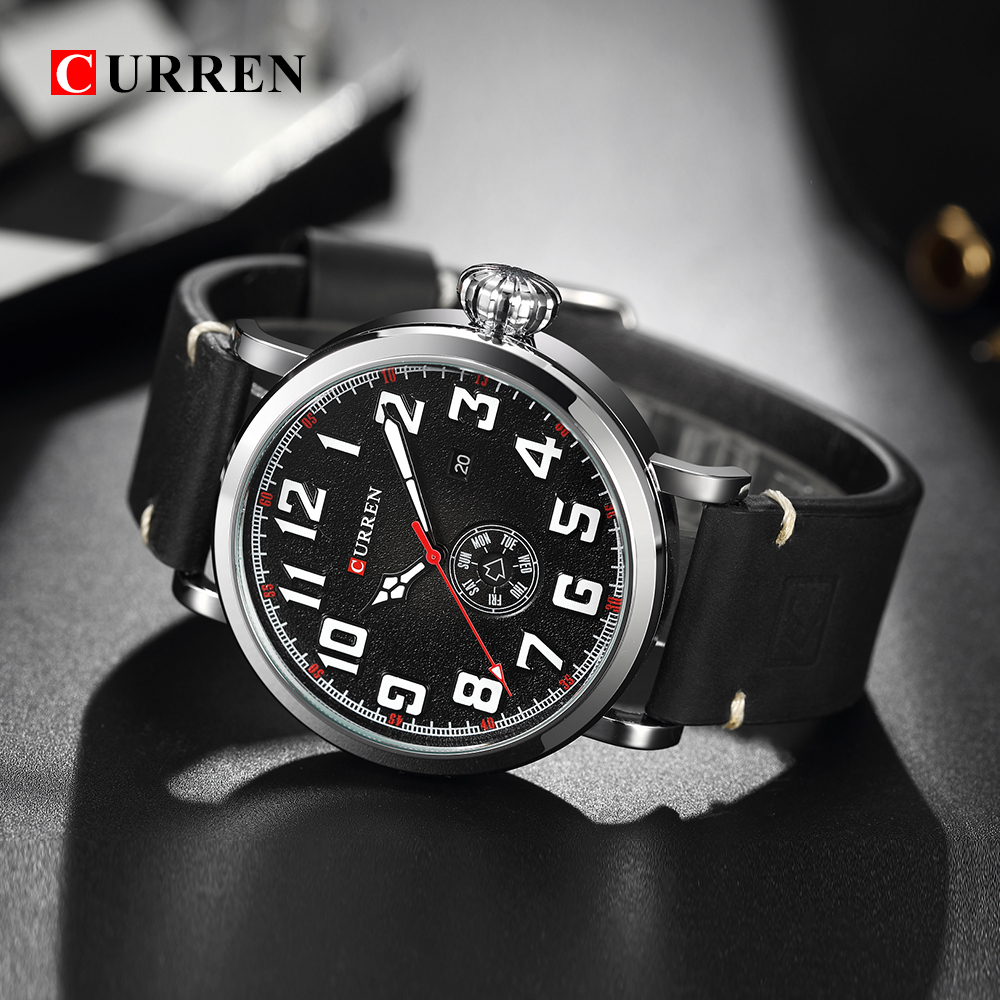 08aea8821150 Male Clock CURREN Genuine Leather Strap Men s Wristwatch Display week Date  Quartz-Watch Fashion Business Men Watches