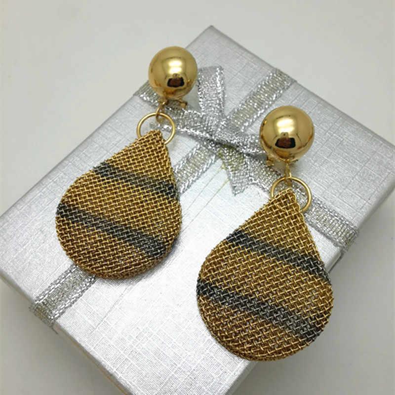 הגעה חדשה תכשיטי אופנה מוגדרים גדול עגילי חישוק שרשרת תליון צבע זהב ערכות תכשיטי נשים מתנה לחתונה