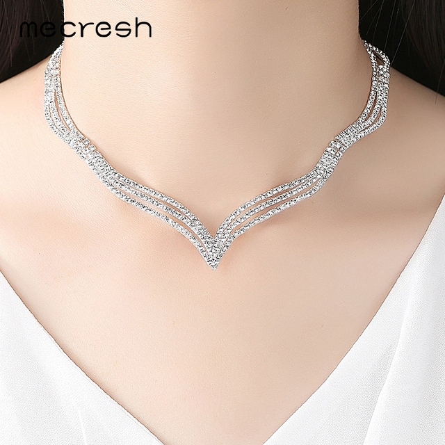 Mecresh Simple Crystal Bridal Jewelry Sets Silver Color Rhinestone Earrings Necklace Sets for Women Wedding Accessories TL296 1