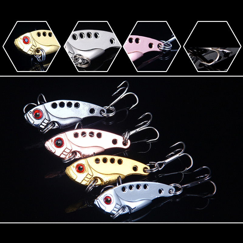 4Pcs lot 3 5g 35mm Metal VIB Bait Fishing Lure 3D Eyes Artificial Bass Cicada VIB Lure Hard Bait Fishing Tackle Pesca in Fishing Lures from Sports Entertainment