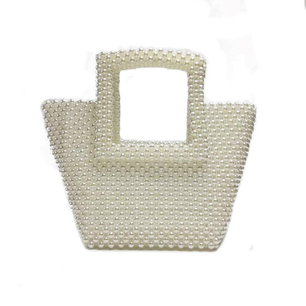 Sac à main trapèze pour femme sac à main avec poignée carrée sac de soirée perlé à la main pour femme
