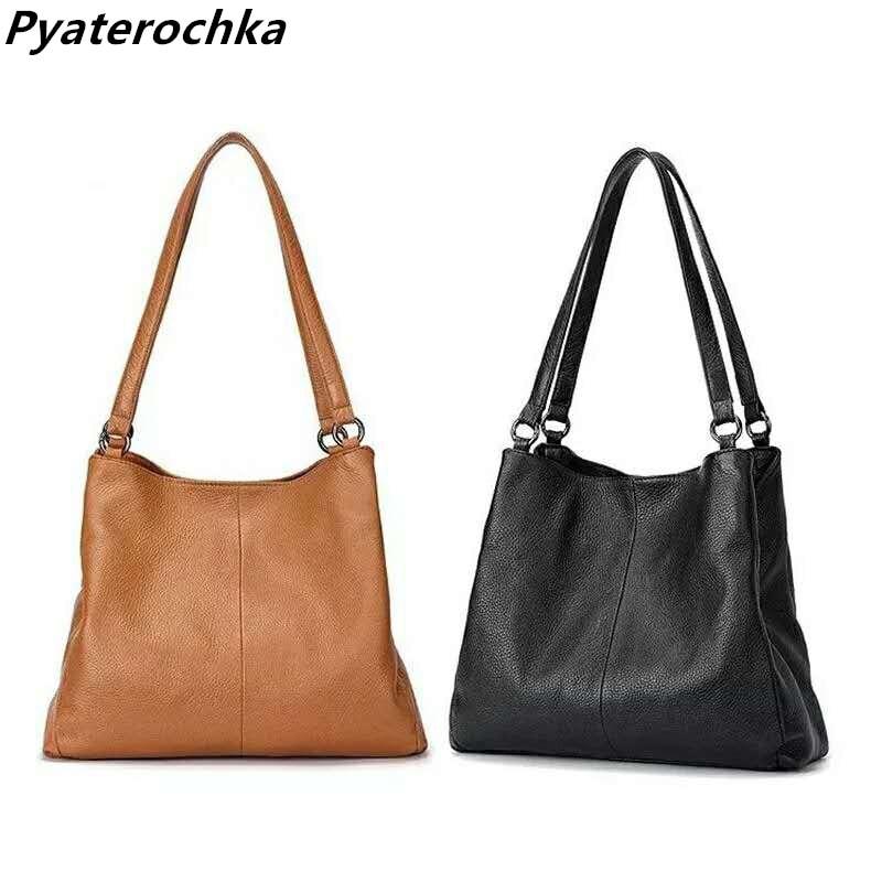 Pyaterochka Ladies Vintage Handbag 2018 New Casual Tote Fashion Women Real Leather Luxury Brand Shoulder Bags High Quality Totes