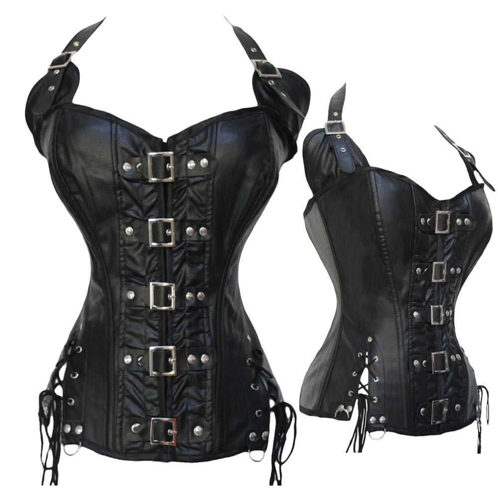 Черные сексуальные корсеты, Бюстье Готический стимпанк Одежда из искусственной кожи стальной костяной ремень тренажер Формирователи корсет Топы