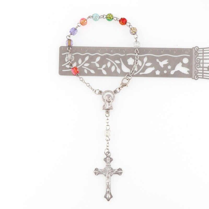 5mm z tworzywa sztucznego złota róża koraliki bransoletka-różaniec z srebrny Lobster wykonane metalowe Maria centrum i jezus krucyfiks krzyż wisiorki