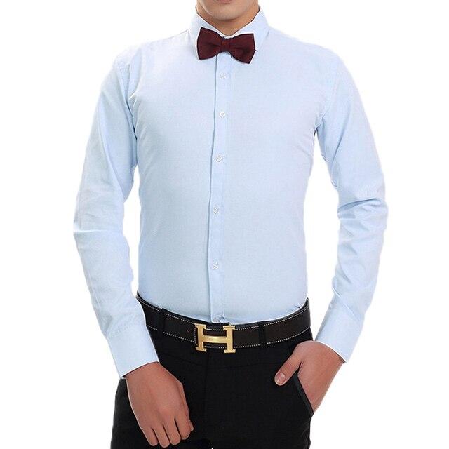Размер XS-3XL Голубой \ Белый \ Розовый \ Черный Мужчины Twill Рубашка Бренд Свадебное Платье Футболки Тонкий Длинные рукавами Сорочка Homme Camisa
