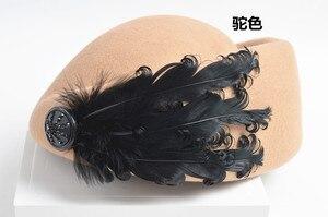 Image 5 - 2020 새로운 럭셔리 깃털 스튜어디스 모자 페도라 모자 여성 패션 솔리드 울 빈티지 모자 여성을위한 영국 스타일의 베레모