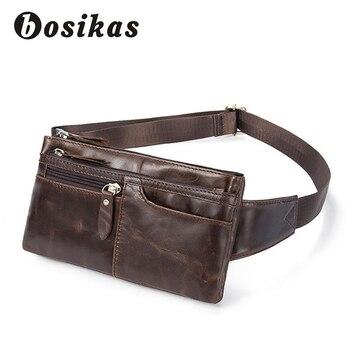 BOSIKAS nuevo genuino de cuero de cintura de cuero bolsa cinturón Bolsa De Teléfono bolsas de cremallera de paquete de la cintura hombre Vintage cintura bolsa