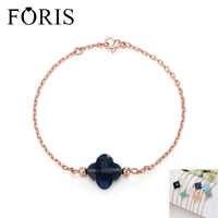 FORIS 17 Farben Mode Rose Gold Farbe Vier Kleeblatt Kristall Charm Armband für Frauen Damen Weihnachten Geschenk PB001