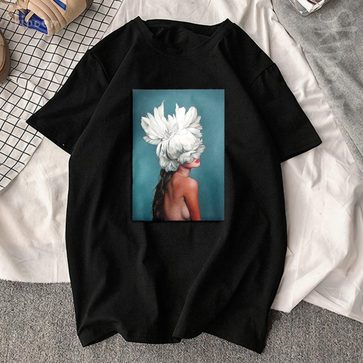 Nouveau coton Harajuku esthétique t-shirt Sexy fleurs plume imprimé à manches courtes hauts et t-shirts mode décontracté Couple t-shirt 3