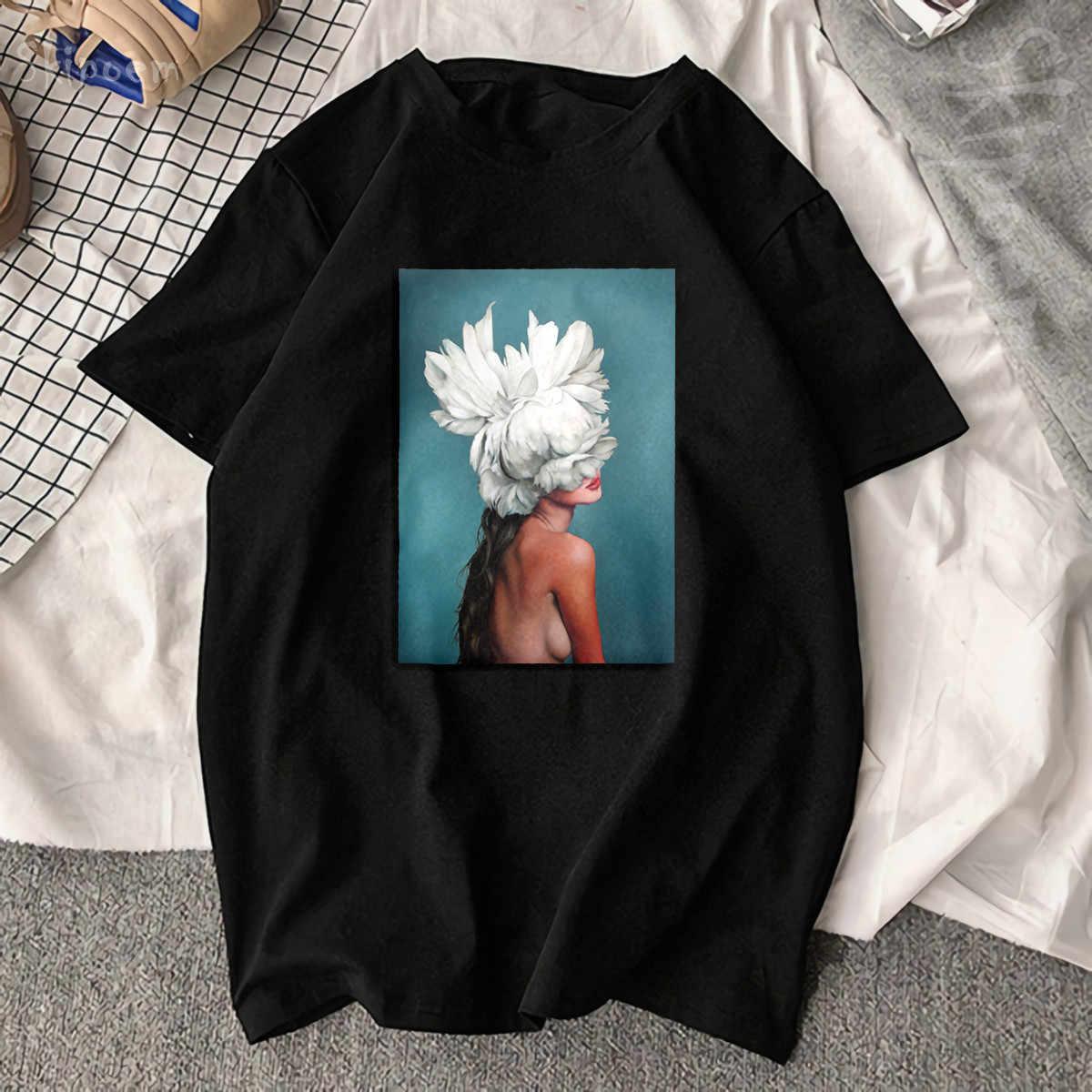 Новый хлопок Harajuku Эстетическая футболка сексуальные цветы перо печати короткий рукав Топы И Футболки модные повседневные парные футболки