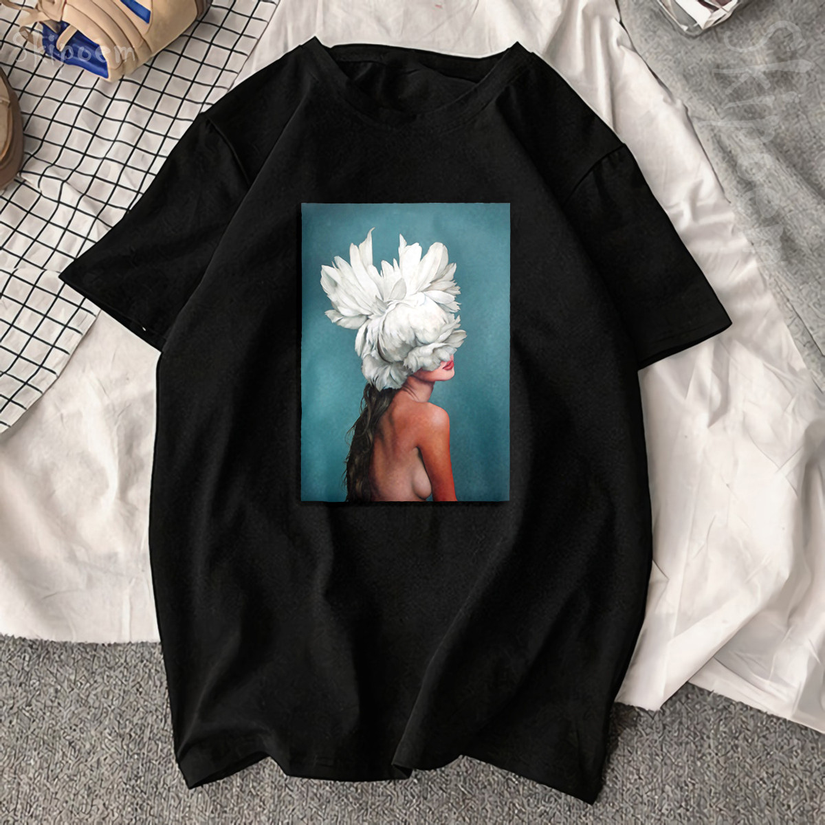 New Cotton Aesthetics T shirt Sexy Flowers Feather Printed Fashion Casual Couple T Shirt 4